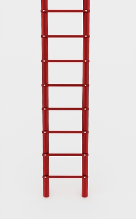 clambering: Red ladder on white background