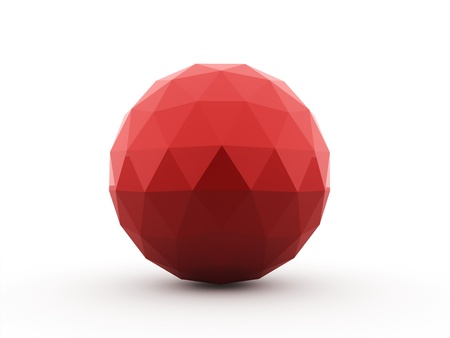 Abstract red sphere with polygons isolated on white background photo