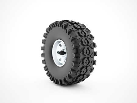 tubeless: Offroad wheel with disc isolated on white background Stock Photo