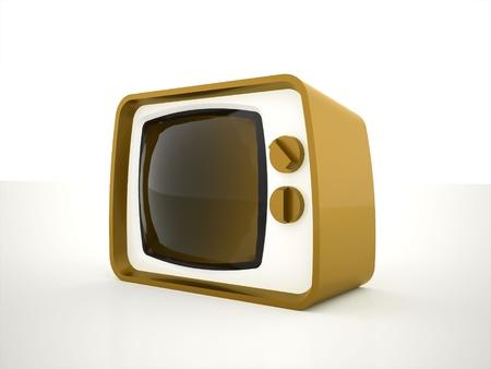 Retro tv yellow on white background photo