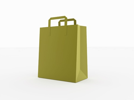 shoping: Paper shoping bag isolated on white background