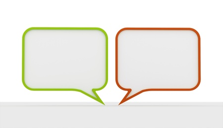 buble: Green and red speech bubbles on white background