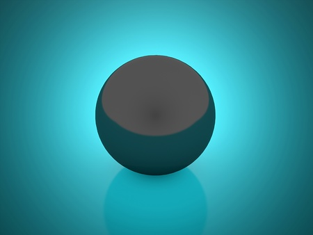 Black sphere on blue background photo
