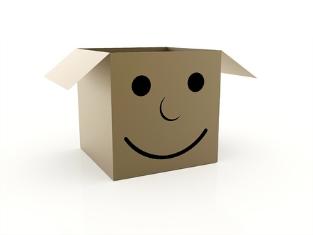 Box with smile face isolated Reklamní fotografie