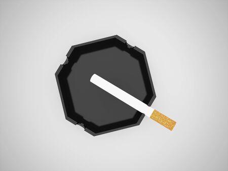 reciever: Ashtray with one cigarette
