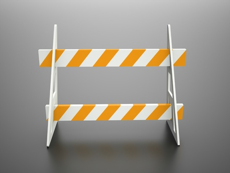 Road barrier orange on black background photo