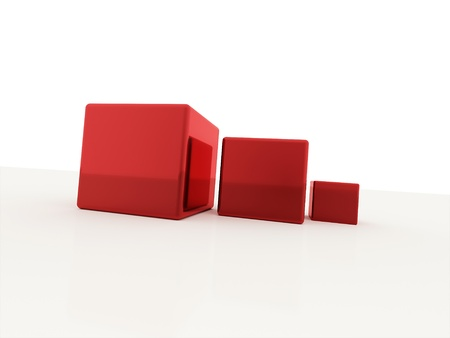 digitally generated image: Red cubes isolated on white background Stock Photo