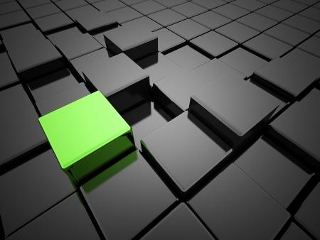 抽象的なキューブ 1 つは緑