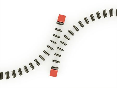 domino effect: Domino effect two is red isolated on white background Stock Photo