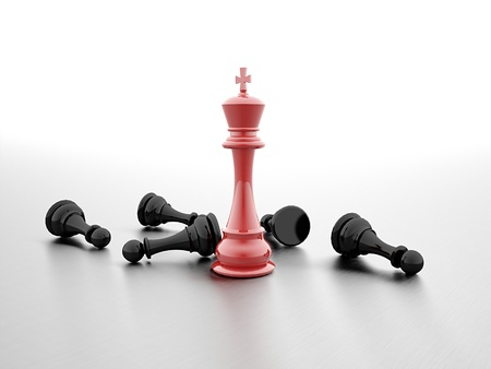 Chess winner red and black rendered Reklamní fotografie