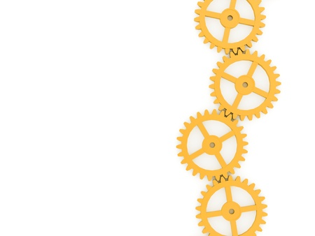 Yellow gears concept on white background