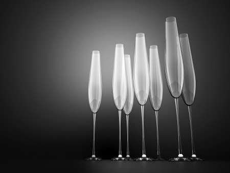 Champagne glasses on black background photo