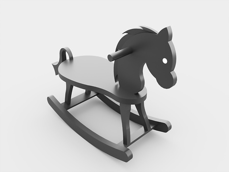 Toy horse black rendered isolated photo