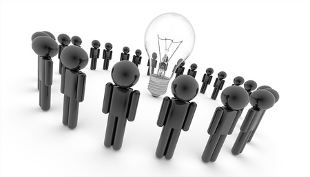 3D people with lightbulb isolated on white background photo