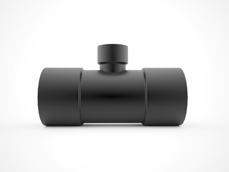 Black water pipe rendered isolated on white background photo