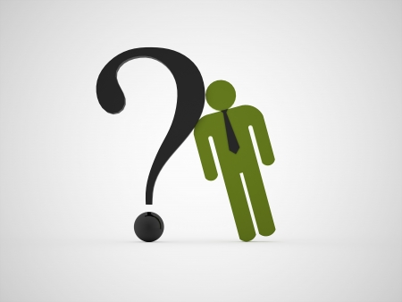 Green abstract man with question mark photo