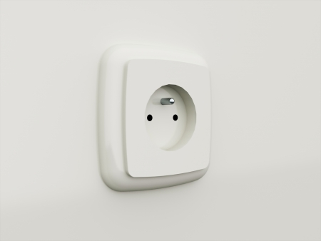 Socket white rendered on the wall photo