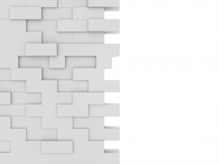rebuild: Brick wall on white background