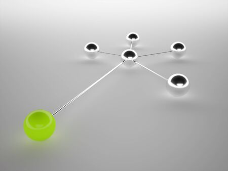 Network concept from sphere on is green photo
