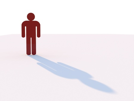 man standing alone: Man with shadow on white background