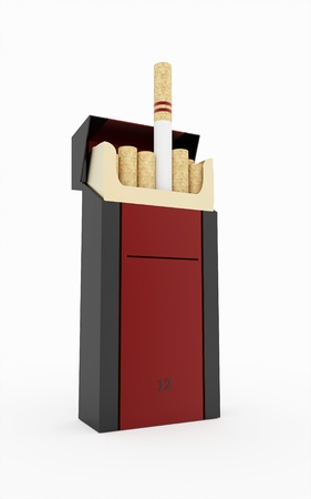 Box of long cigarettes isolated on white background photo