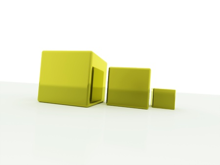 Three yellow cubes concept on white background photo