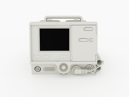 Defibrillator isolated on white background photo