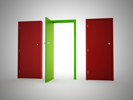 Doors red One green rendered photo