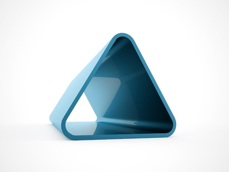 3d triangle: Blue 3D triangle isolated on white background Stock Photo
