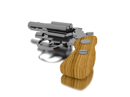 Revolver render gun isolated on white photo