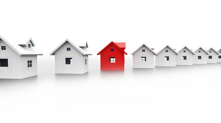 Houses concept one is red on white background Reklamní fotografie