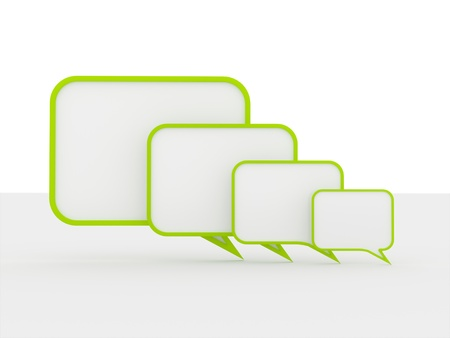 speech buble: Green speech bubbles concept on white background