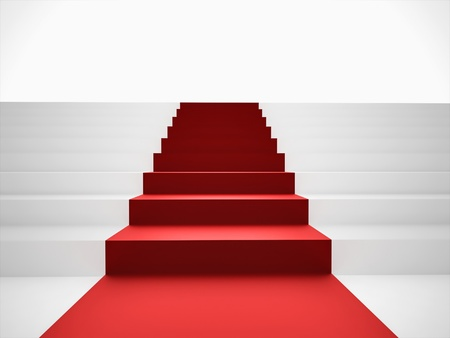 Stairs up with red carpet