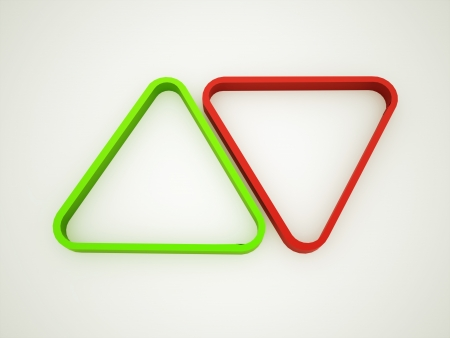 Triangle rendered red and green photo
