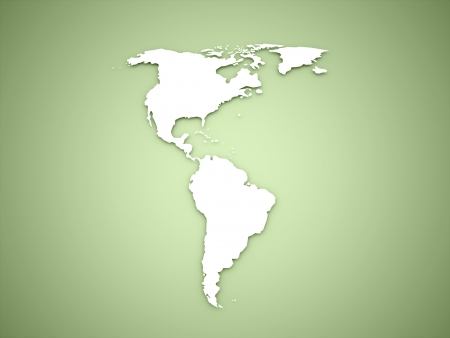 America continent on green background