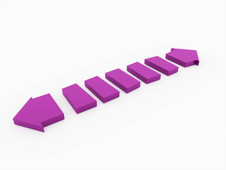 Purple arrows concept isolated on white background photo