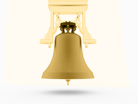 church bell: Big gold church bell rendered on white background
