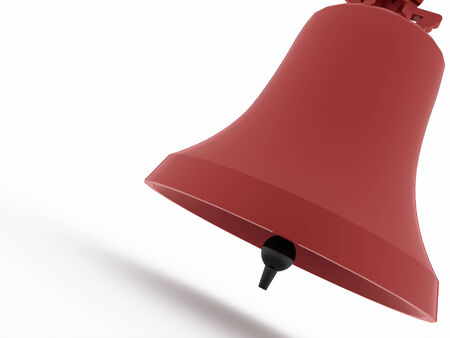 Red big bell on white background photo