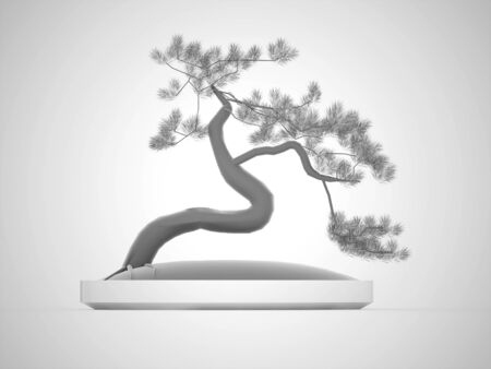 Black and white bonsai tree rendered photo