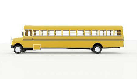 白い背景に分離された黄色のスクールバス