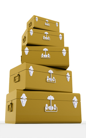 Gold chest cases on white background photo