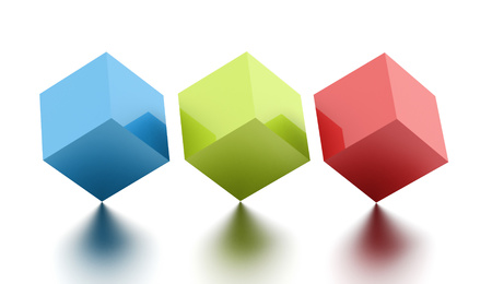 three colored: Three colored cubes rendered on white background