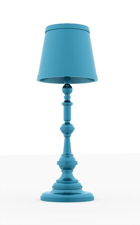 Classic blue vintage lamp rendered on white background photo