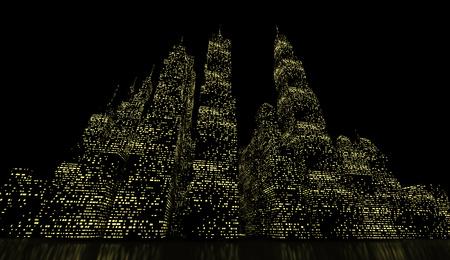 Night city scene rendered on green lights photo