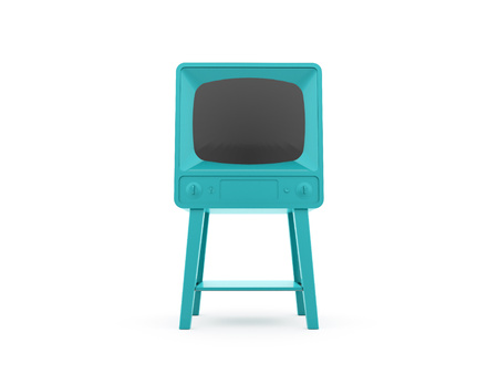 Old blue vintage TV isolated on white background photo