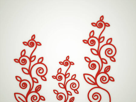 Red flower motive concept rendered