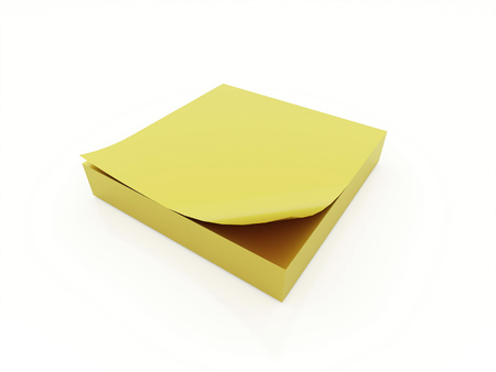 Yellow paper block isolated on white background photo