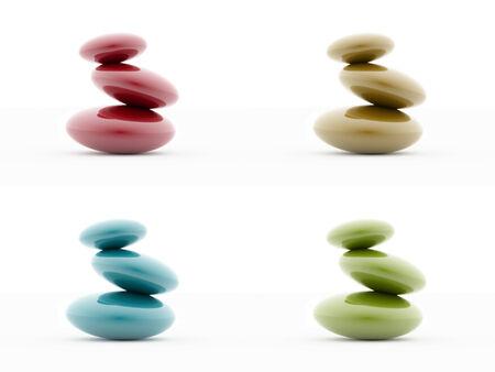 Four pebbles isolated on white background photo