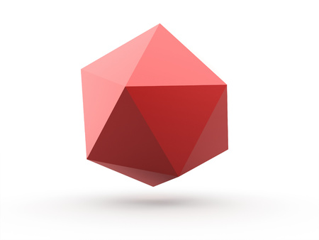 Red polygonal sphere element isolated on white background photo