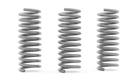 coil spring: Three metal spiral string on white background
